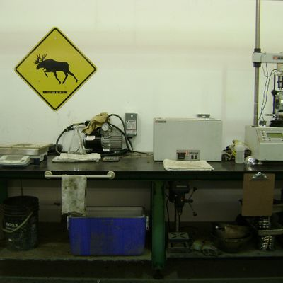 machine with moose sign